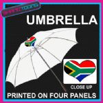 "SOUTH AFRICA LOVE HEART FLAG WHITE 30"" UMBRELLA LONG HANDLE"
